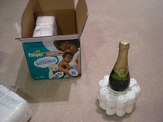 luiertaart champagne maken